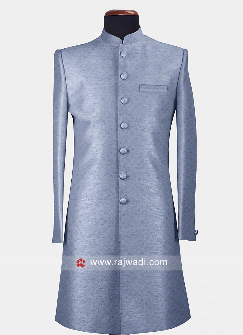 Blue Indo-Western With Lucknowi Work