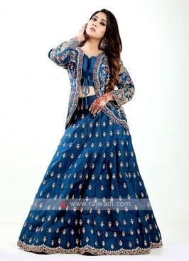 Blue Indowestern Lehenga Choli