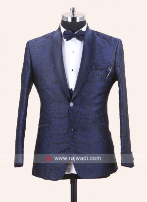 Blue Jacquard Silk Party Wear Suit
