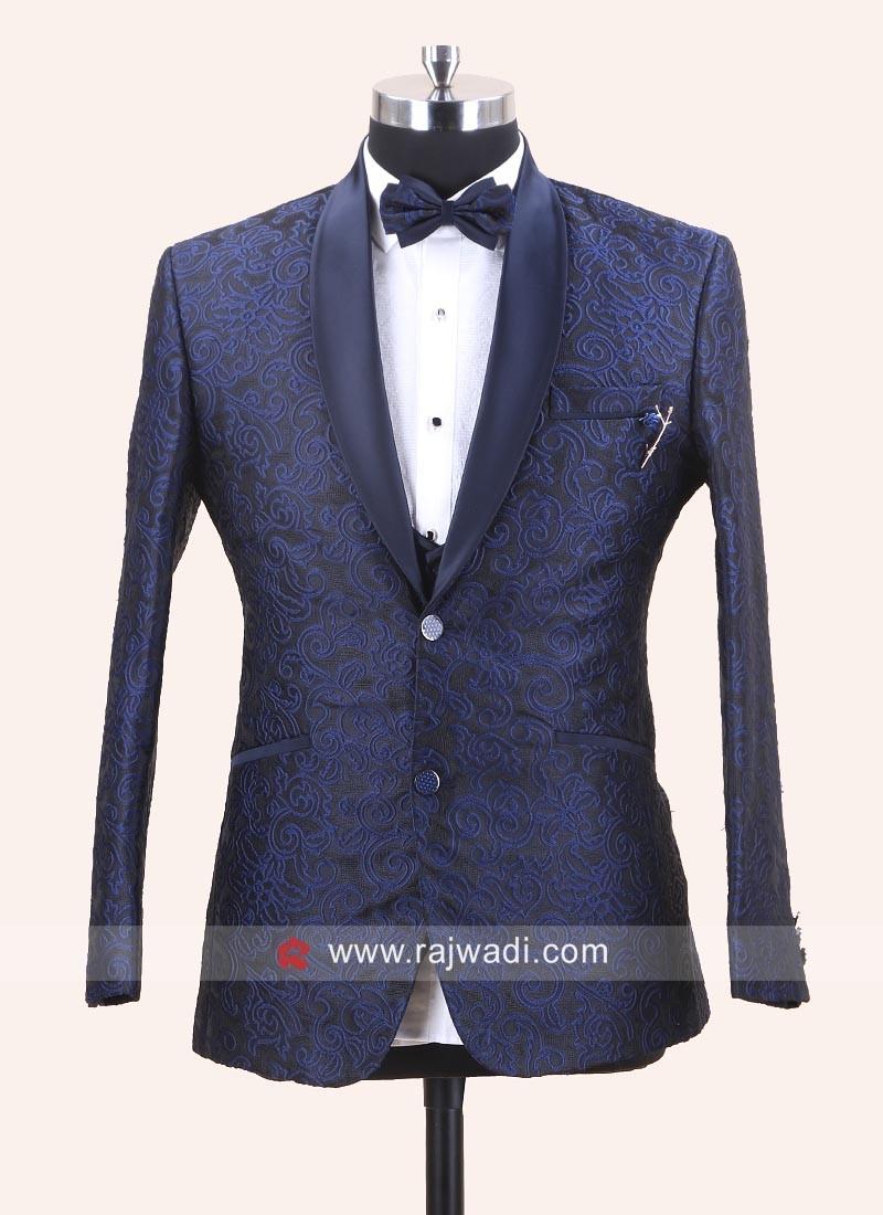 Blue Jacquard Silk Party Wear Suit