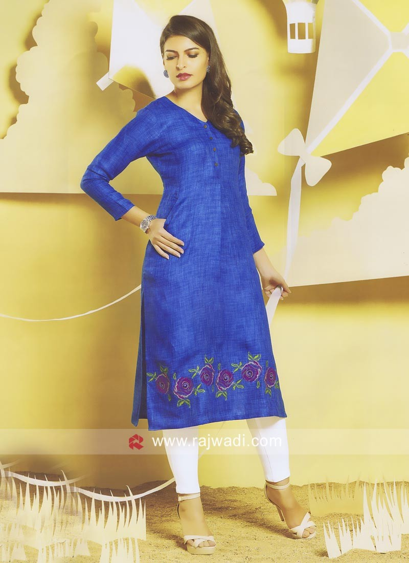 Blue Jute Cotton Straight Fit Kurti