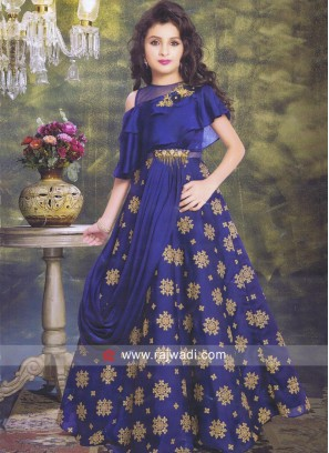 Blue Layered Gown for Kids