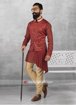 Maroon Layered Nehru Jacket