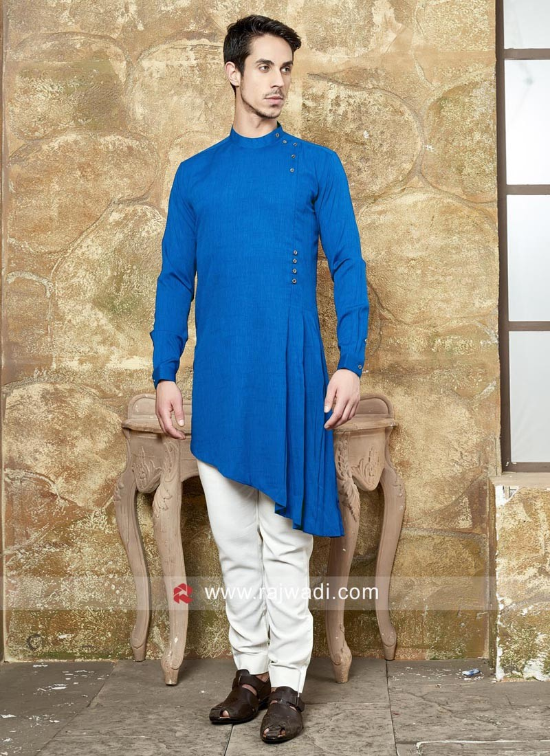 Blue Layered Pathani Set