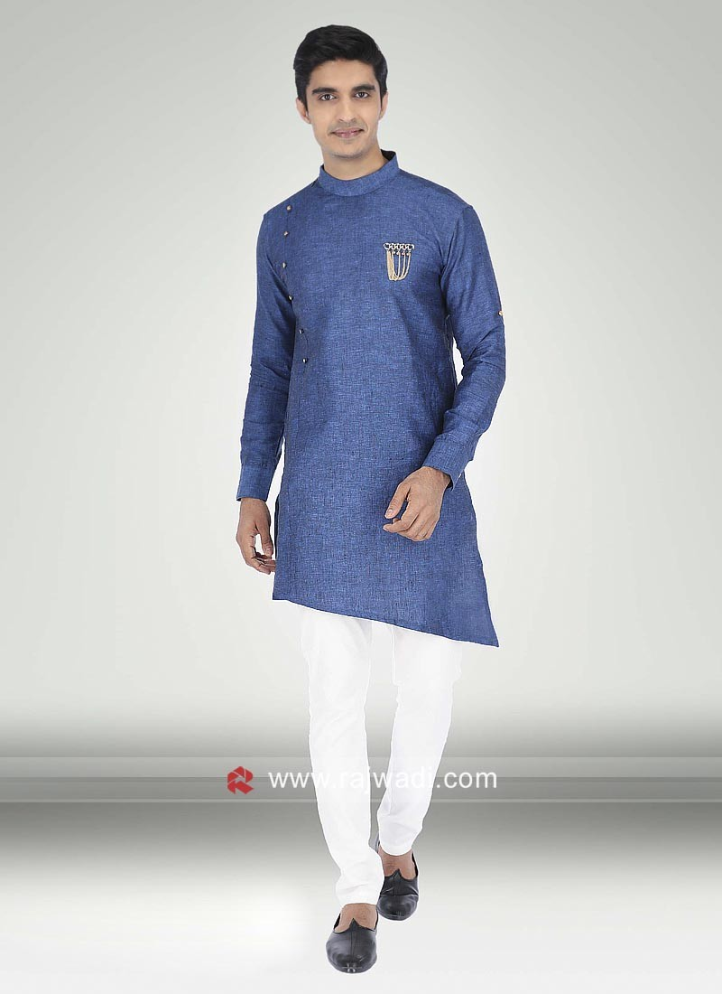 Blue Linen Fabric Kurta Pajama