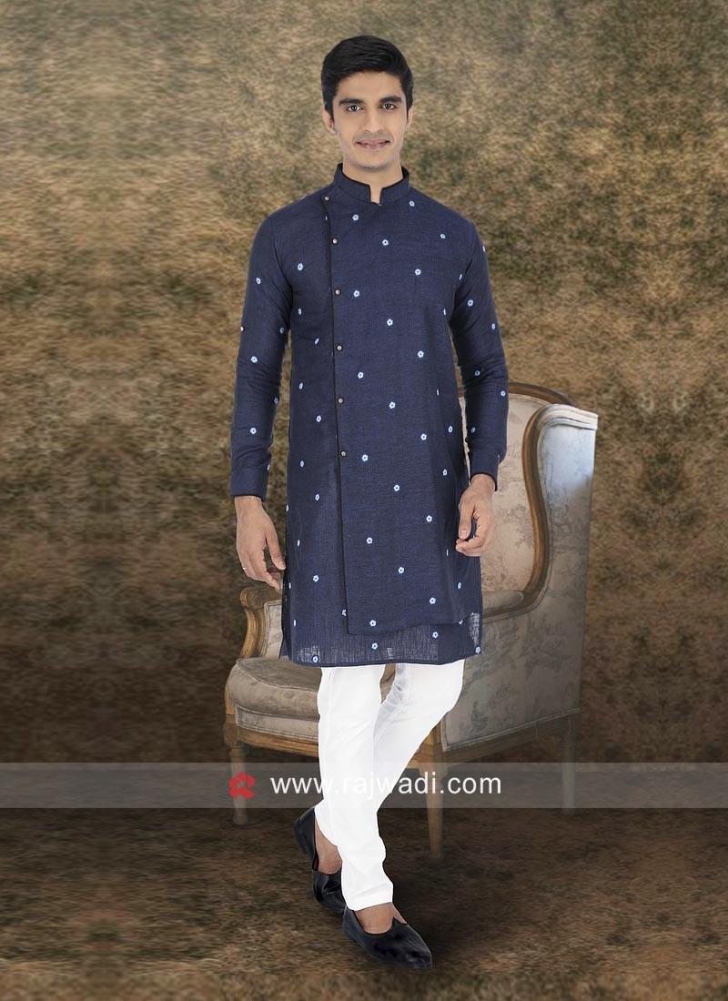Blue Linen Fabric Kurta Set