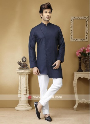 Blue Linen Fabric Kurta Set