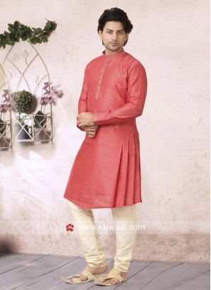 Designer Peach Color Kurta Pajama