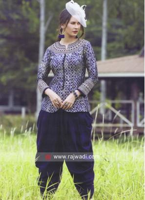Blue Mirror Work Dhoti Patiala Suit