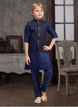 Navy Blue Nehru Jacket For Boys
