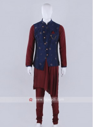 Blue Nehru jacket with kurta set