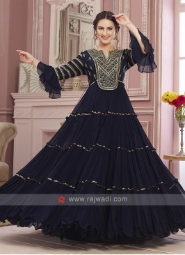 Blue Net Anarkali Suit with Dupatta
