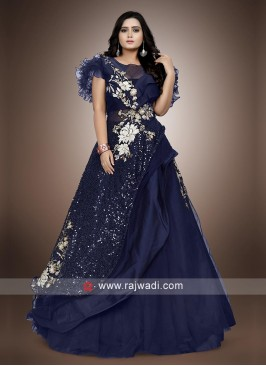 Blue Net and silk floor length gown.