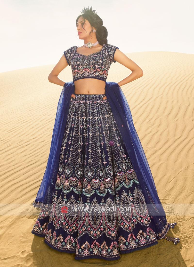 Blue net fabric choli suit