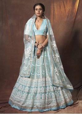 Blue Net Mehndi Lehenga Choli