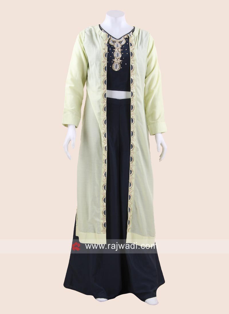 e3924d89e8d Blue Palazzo Suit with Light Green Long Jacket. Hover to zoom