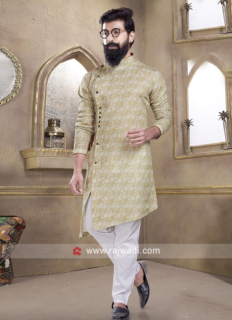 Cream Pathani Suit with Fancy Button