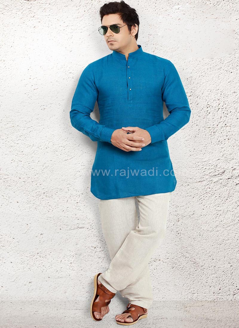 Blue Pathani Suit with Fancy Button