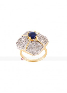 Blue Premium Cubic Zirconia Ring