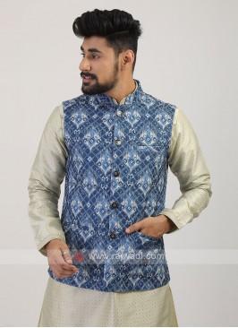 Blue Printed Nehru Jacket
