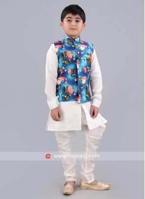 Blue Printed Nehru Jacket For Boys