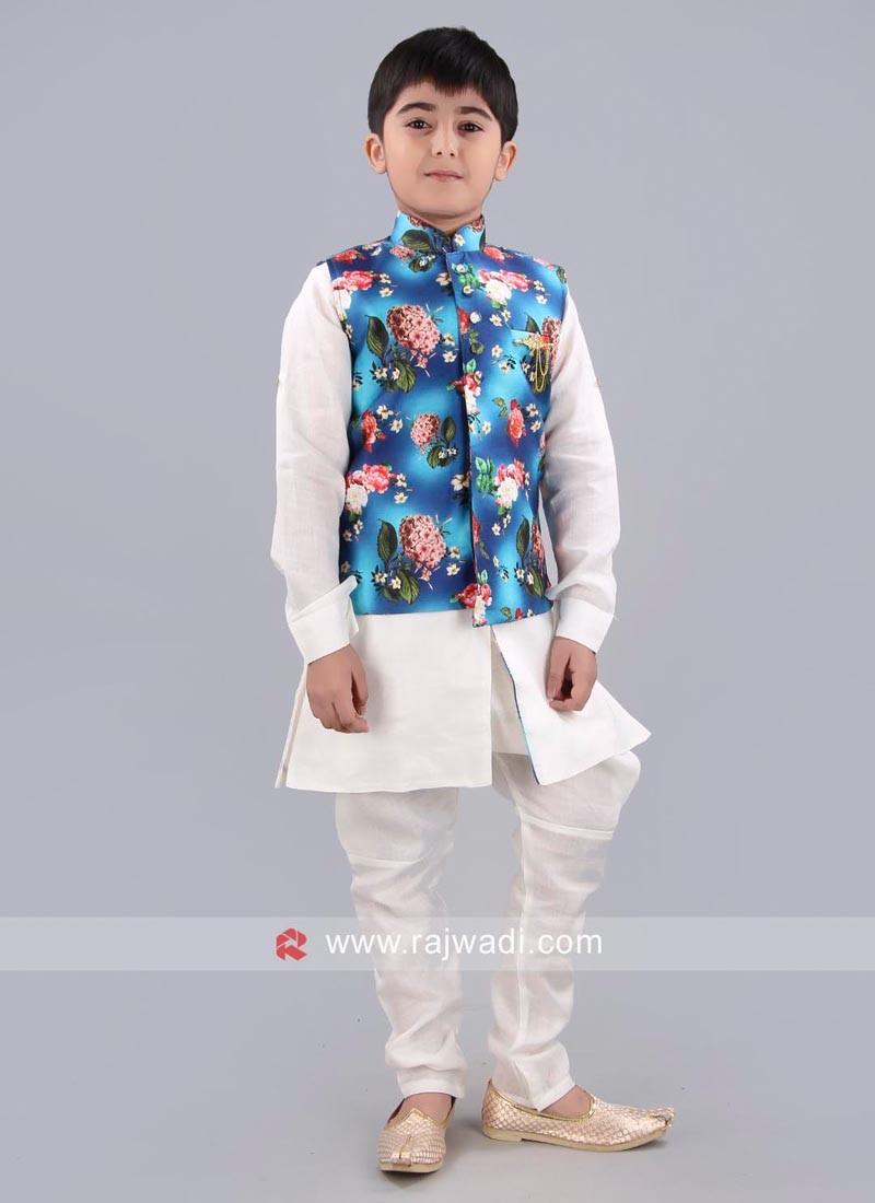 Blue Printed Nehru Jacket For Boys