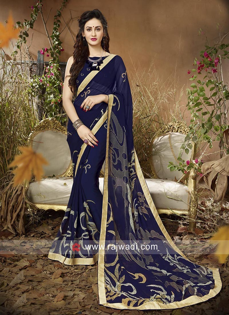 Blue Printed Saree with Lace Border