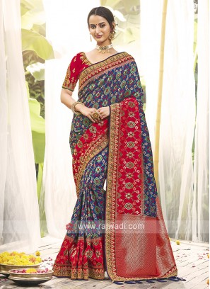 Blue & Red Color Silk Traditional Saree