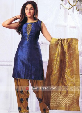 Blue Resham Work Patiala Suit