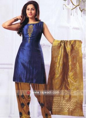 Blue Resham Work Patiala Suit