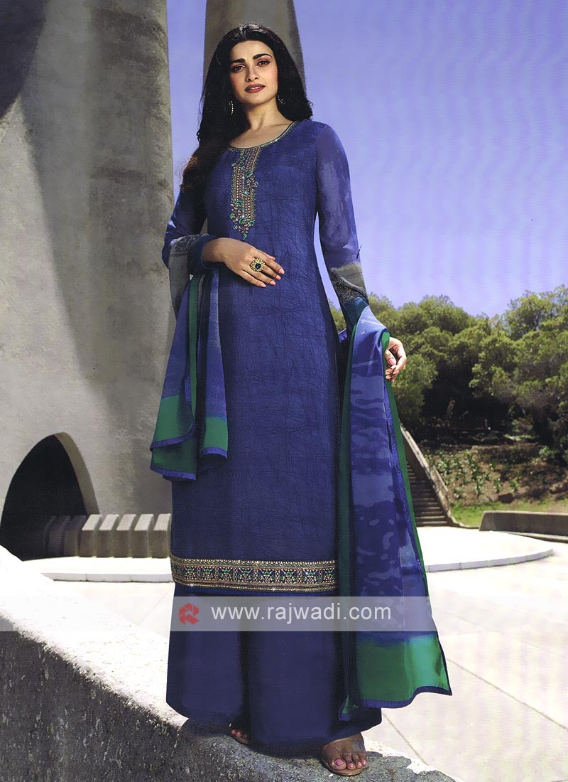 Blue Resham Work Salwar Kameez