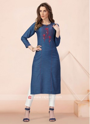 Blue Resham Work Soft Cotton Kurti