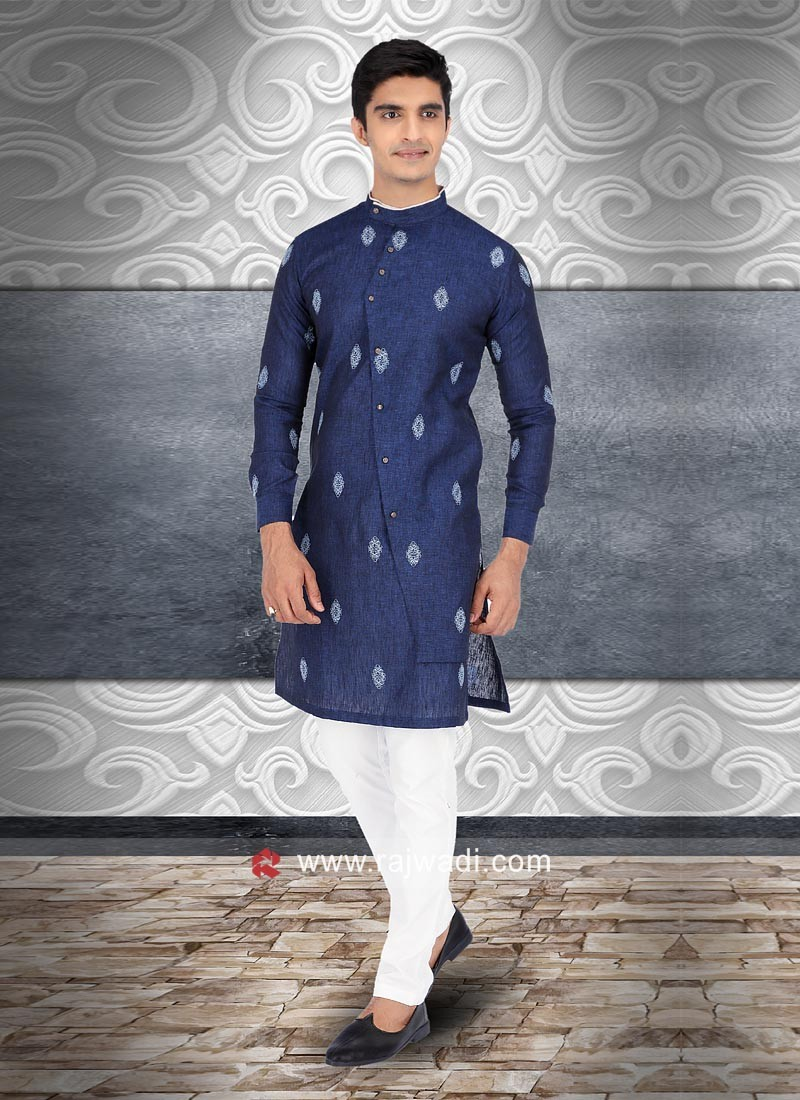 Blue Round Neck Kurta Set