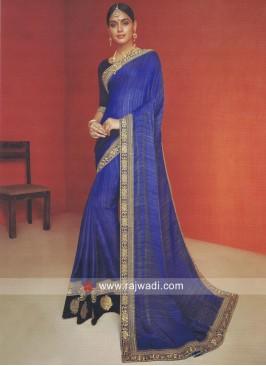 Blue Saree with Black Blouse