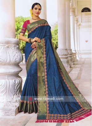 Blue Saree with Designer Border