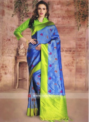 Blue Saree with Parrot Green Border