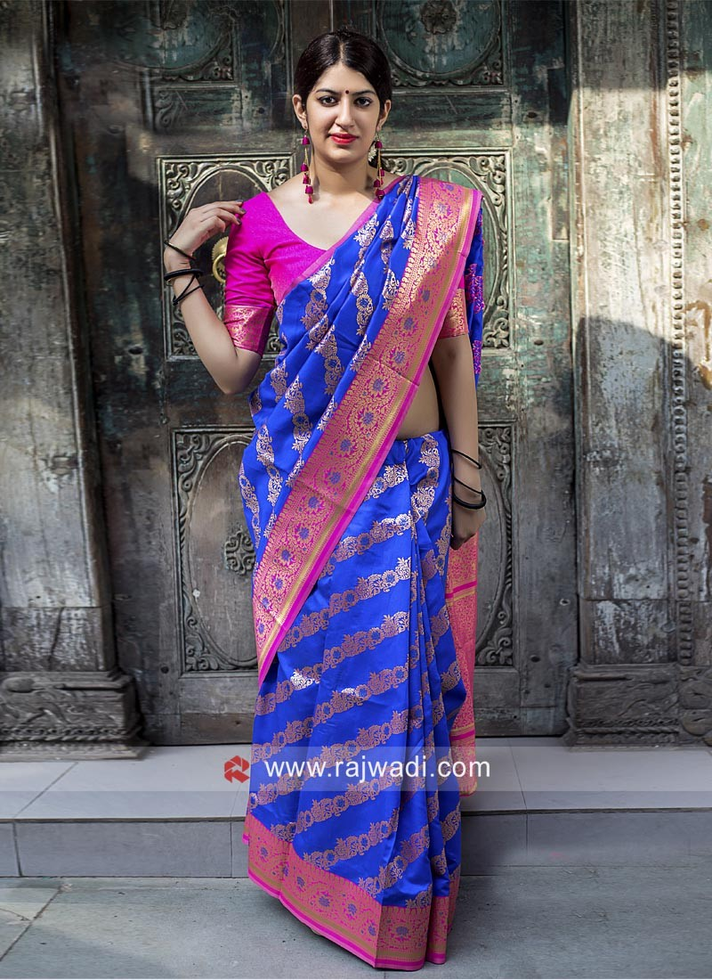 Blue Saree with Pink Border