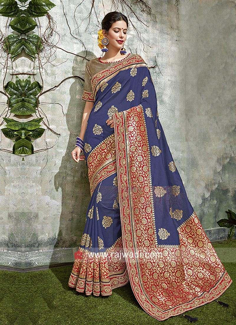 Blue Saree with Red Embroidered Border