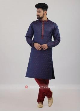 Blue Satin Silk Kurta Pajama