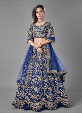 Blue Sequins Mehndi Lehenga Choli