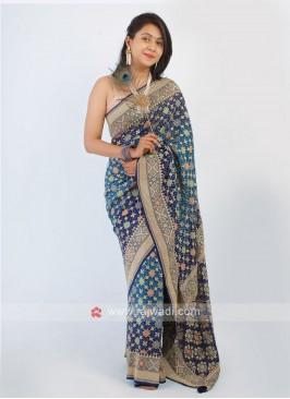 Blue Shaded Bandhani Saree
