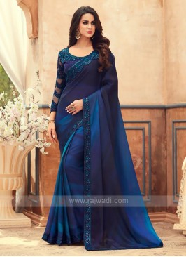 Blue Shaded Chiffon Saree