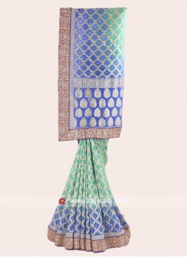 Blue Shaded Saree in Banarasi Chiffon