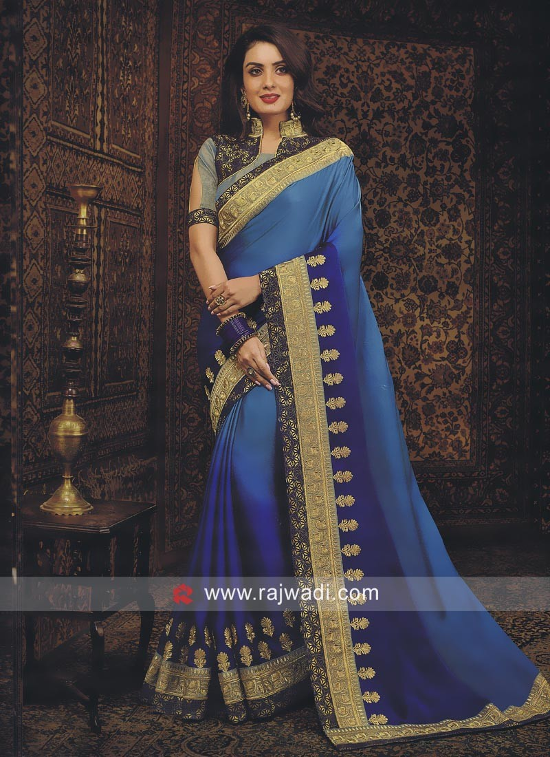 Blue Shaded Saree with Blouse
