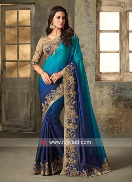 Blue Shaded Saree with Border