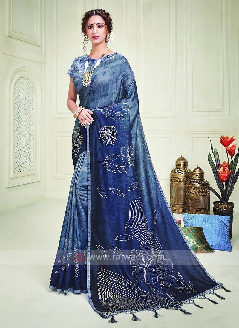 Blue Shaded Silk Saree