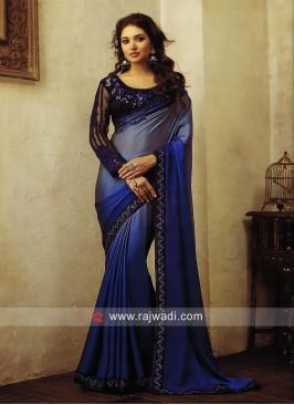 Blue Shaded Wedding Saree