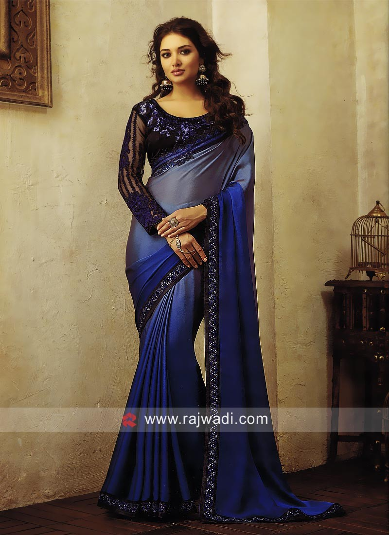 Blue Shaded Wedding Saree