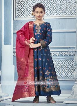 Blue silk and lycra salwar Anarkali with contrast dupatta.
