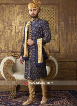 Blue Silk Fabric Sherwani With Golden Dupatta